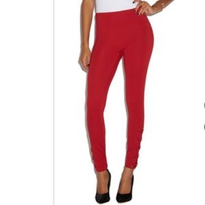 ShoeDazzle Side Lace Up Leggings in Scarlet